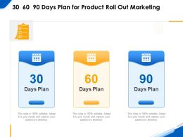 30 60 90 Days Plan For Product Roll Out Marketing Ppt Model