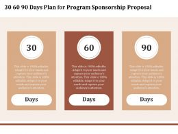 30 60 90 Days Plan For Program Sponsorship Proposal Ppt Powerpoint Presentation Slides