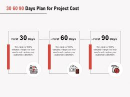 30 60 90 Days Plan For Project Cost Ppt Powerpoint Presentation Pictures Icon