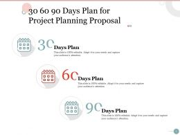 30 60 90 Days Plan For Project Planning Proposal Ppt Powerpoint Presentation Influencers