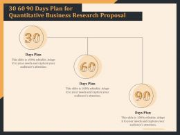 30 60 90 Days Plan For Quantitative Business Research Proposal Ppt File Brochure