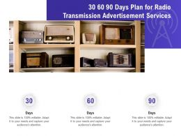 30 60 90 Days Plan For Radio Transmission Advertisement Services Ppt File Formats