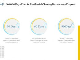 30 60 90 Days Plan For Residential Cleaning Maintenance Proposal Ppt Ideas
