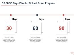 30 60 90 Days Plan For School Event Proposal Ppt Powerpoint Presentation Slides Example