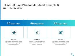 30 60 90 Days Plan For SEO Audit Example And Website Review Ppt Powerpoint Model