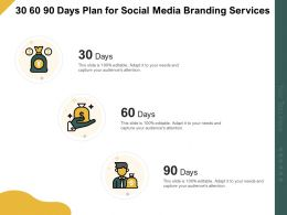 30 60 90 Days Plan For Social Media Branding Services Ppt Powerpoint Brochure