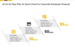30 60 90 Days Plan For Sports Event For Corporate Employees Proposal Ppt Slides
