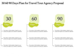 30 60 90 Days Plan For Travel Tour Agency Proposal Ppt Icon Pictures