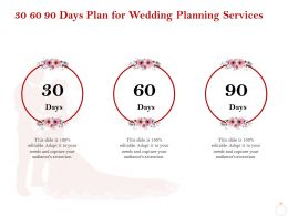 30 60 90 Days Plan For Wedding Planning Services Ppt Icon Infographics