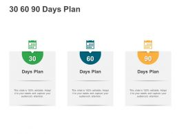 30 60 90 Days Plan M3016 Ppt Powerpoint Presentation Diagram Ppt