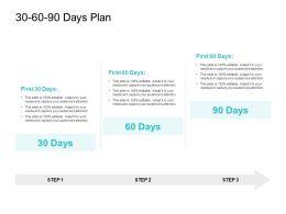 30 60 90 Days Plan Management L716 Ppt Powerpoint Presentation Infographics