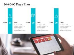 30 60 90 Days Plan Management L728 Ppt Powerpoint Presentation