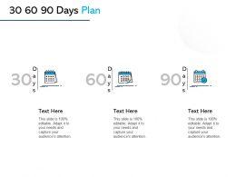30 60 90 Days Plan Marketing L1036 Ppt Powerpoint Presentation Slides