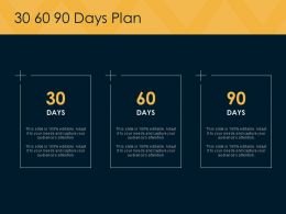 30 60 90 Days Plan Ppt Powerpoint Presentation Pictures Slideshow