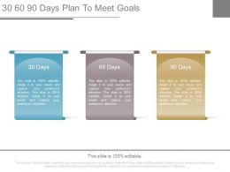 30 60 90 Days Plan To Meet Goals Powerpoint Slides
