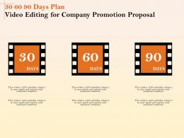 30 60 90 Days Plan Video Editing For Company Promotion Proposal Ppt File Aids
