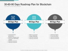 30 60 90 Days Roadmap Plan For Blockchain Architecture Design Use Cases Ppt Guidelines
