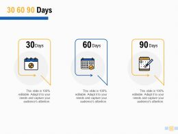 30 60 90 Days Timeline F844 Ppt Powerpoint Presentation Pictures Slides