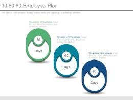 30 60 90 Employee Plan Powerpoint Slides