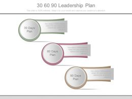 30 60 90 Leadership Plan Powerpoint Slides