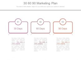 30 60 90 Marketing Plan Powerpoint Slides