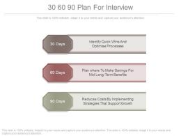 30 60 90 Plan For Interview Powerpoint Slides