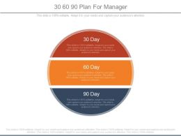 30 60 90 Plan For Manager Powerpoint Slides
