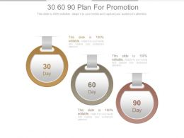30 60 90 Plan For Promotion Powerpoint Slides