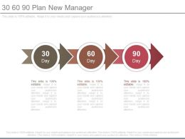 30 60 90 Plan New Manager Powerpoint Templates