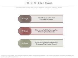 30 60 90 Plan Sales Powerpoint Templates