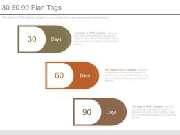 30 60 90 Plan Tags Powerpoint Templates