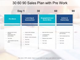 30 60 90 Sales Plan With Pre Work