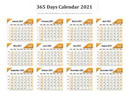 365 Days Calendar 2021