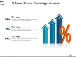 3 Arrow Shows Percentage Increase Powerpoint Slide Show