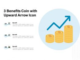 3 Benefits Coin With Upward Arrow Icon
