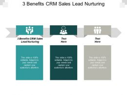 3 Benefits CRM Sales Lead Nurturing Ppt Powerpoint Presentation Gallery Format Ideas Cpb