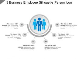 3 Business Employee Silhouette Person Icon Example Of Ppt