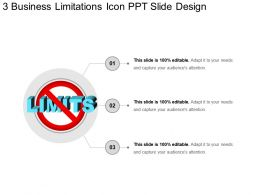 3 Business Limitations Icon Ppt Slide Design