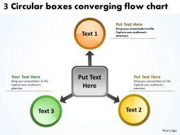 3 circlular boxes converging flow chart circular arrow powerpoint slides