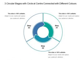 3 Circular Stages With Circle At Centre Connected With Different Colours