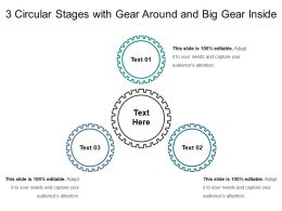 3 Circular Stages With Gear Around And Big Gear Inside