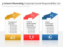 3 Column Illustrating Corporate Social Responsibility List