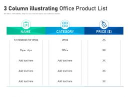 3 Column Illustrating Office Product List