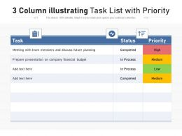3 Column Illustrating Task List With Priority
