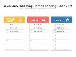 3 Column Indicating Home Shopping Check List