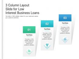 3 Column Layout Slide For Low Interest Business Loans Infographic Template