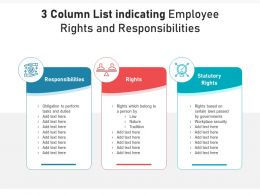 3 Column List Indicating Employee Rights And Responsibilities