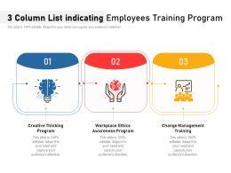 3 Column List Indicating Employees Training Program