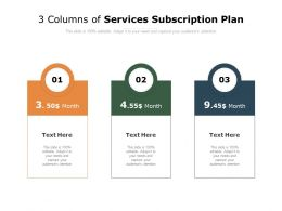 3 Columns Of Services Subscription Plan