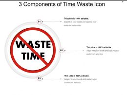 3 Components Of Time Waste Icon Example Of PPT